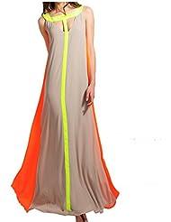 eleery femmes Fashion sans manches col bateau élastique Boho Splice Joint Courroie robe longue soirée cocktail party robe de plage