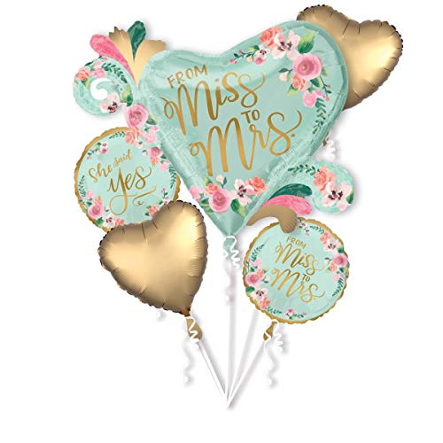 Amscan 3869401 Folienballons Bouquet From Miss to Mrs, Mehrfarbig