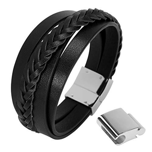 GK Trendbreak Echt Lederarmband für Männer, Herren Armband aus echtem Leder mit sicherem verlängerbaren Edelstahl Magnetverschluss Geschenkbox EM2 (Black, 20)