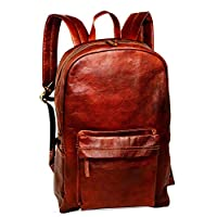 "18"" Brown Leather Backpack Vintage Rucksack Laptop Bag Water Resistant Casual Daypack College Bookbag Comfortable Lightweight Travel Backpack Hiking/Picnic Bag for Men"