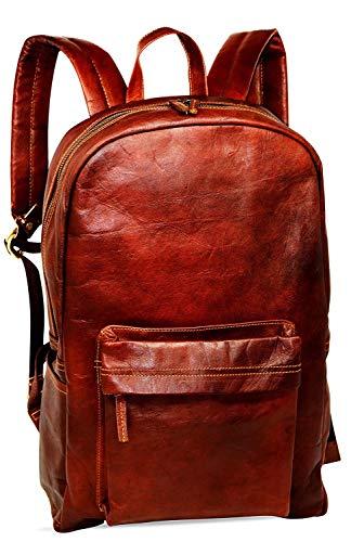 Jaald 45 Cm Zaino Bagaglio Borsa Zainetto Carry on a Palestra Mano in Vera Pelle da Uomo Donna Leather Laptop Backpack da Viaggio...