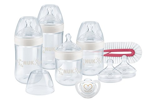 NUK 10225147 Nature Sense Perfect Start Set, 4 x Nature Sense Flasche, 2 x Silikon Trinksauger, 1 x Flaschenbürste, 1 x Genius Silikon Schnuller, 0-6 Monate