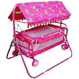 A And Products Baby Cradle Cum Cot Cum Stroller Pink
