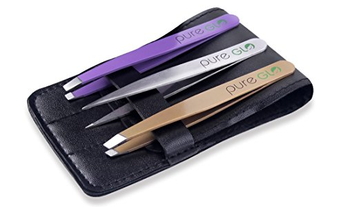 pureGLO Precision Tweezers Set - 3pcs Stainless Steel Best Pointed Slanted Flat Tweezers for Ingrown Hair, Eyebrow Shaping, Nose Hair and Splinters - Hair Removal Tool with Faux Leather Black Case