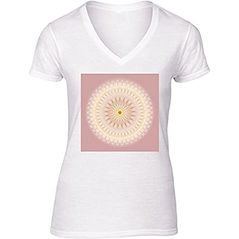 Camiseta V Cuello para Mujer - Mandala Medallón De Oro Rosa by Nina Baydur