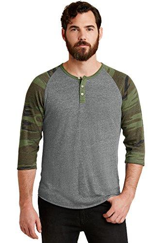 Men's Eco-Jersey 3/4-Sleeve Raglan Henley ECO GREY/ CAMO 3XL (Henley Shirt Camo)