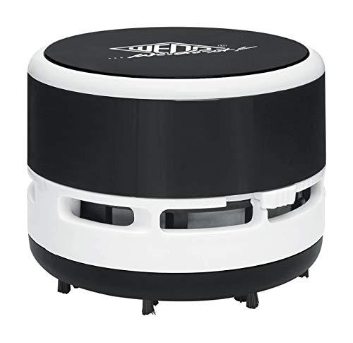 Wedo 20520101 Mini Tischstaubsauger, bürsten, Abschraubbarer Auffangbehälter Höhe circa 6, 3 cm, Durchmesser 8, 5 cm, inkl. Batterien, Schwarz/Weiß
