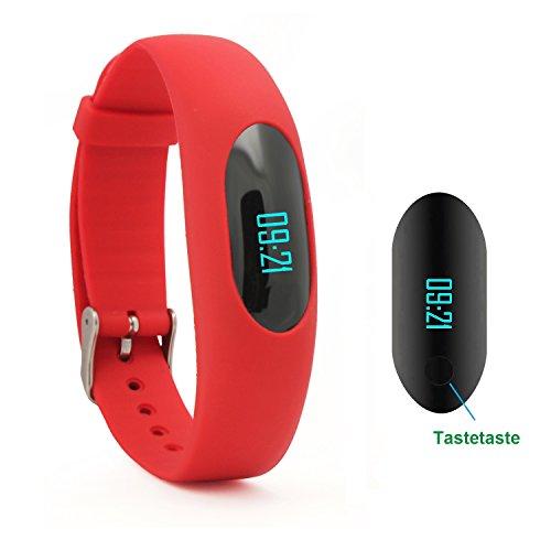 Willful Schrittzähler Armband Fitnessarmband Ohne Bluetooth mit Uhr / Kalorienzähler / Schlafüberwachung / Entfernung / Zeit / Daten Ohne APP Handy für Outdoor-Rennen Gehen (Rot)