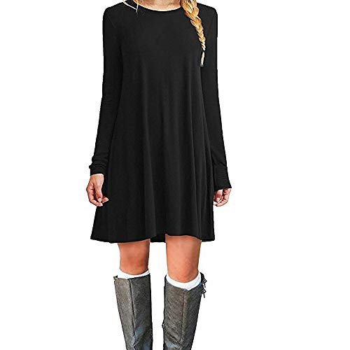 ZHANGNA Mujer Suelto Casual Manga Larga Vestido de la Camiseta (Negro, Small)