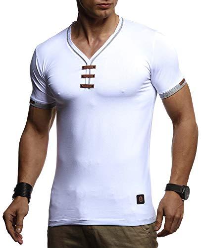 LEIF NELSON Herren Sommer T-Shirt V-Ausschnitt Slim Fit Baumwolle-Anteil | Basic Männer T-Shirt V-Neck Hoodie-Sweatshirt Kurzarm lang | Weißes Jungen Shirt Kurzarmshirts | LN4890 Weiß XX-Large -