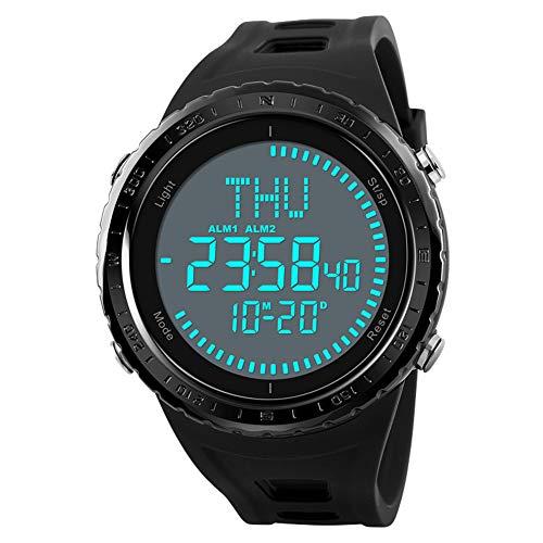 GYJUN Sportuhr Herrenmode Outdoor 50M wasserdicht Armbanduhren Kompass Weltzeit Countdown Multifunktionsuhr mit Lederband,Black