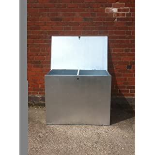MEDIUM GALVANISED FEED BIN WITH TWO COMPARMENTS