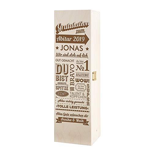 Casa Vivente Amavel Weinbox mit Gravur - Gratulation zum Abitur - Personalisiert mit Namen - Weinkiste aus Holz - Verpackung für Weinflasche - Geschenkidee zum Schulabschluss für Abiturienten