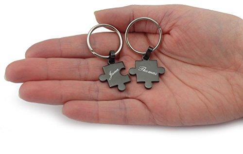 Wunderschöner Partner Puzzle Schlüsselanhänger Silber oder Schwarz inkl. Gravur Wunschname (Schwarz)