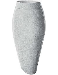 Damen Midi Rock Stretch Figurbetont Business Bleistift Röcke