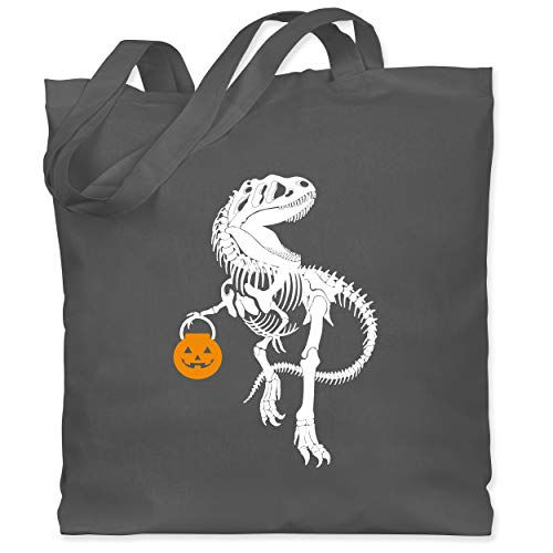 Shirtracer Halloween - Halloween T-Rex - Unisize - Dunkelgrau - WM101 - Stoffbeutel aus Baumwolle Jutebeutel lange Henkel (Besessen Fan Kostüm)