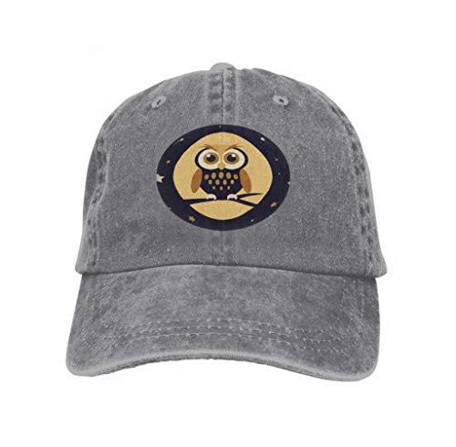 Hip Hop Baseball Cap Adjustable Flat Brim Hat Outdr Sport Baseball Hat Unisex Night owl Abstract Gray