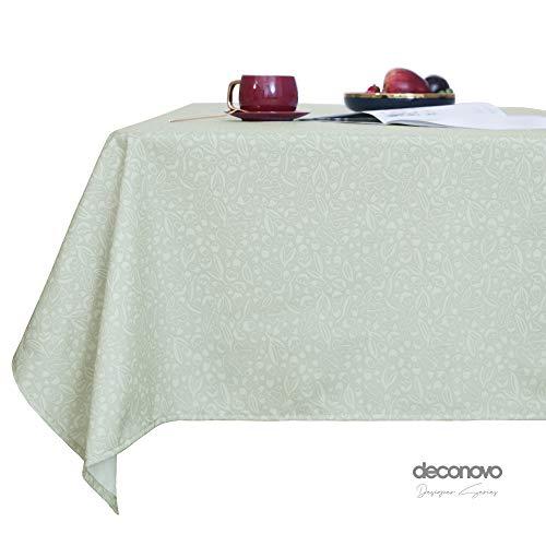 Deconovo Tischdecke Wasserabweisend Tischdecke Lotuseffekt Tischtuch 130x220 cm Hellgrün