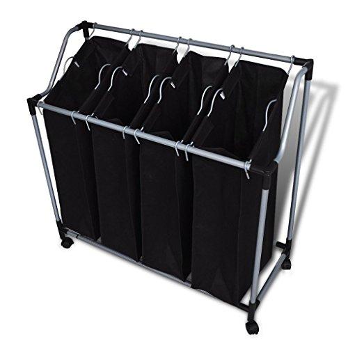 Festnight Wäschesortierer Wäschekorb Wäschewagen mit 4 × Sortierer Fächer Schwarz