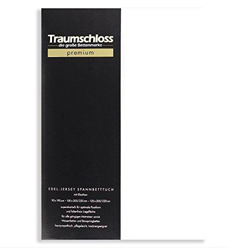 Traumschloss Edel-Jersey Spannbetttuch Premium (90-120 cm x 200-220 cm, weiß)