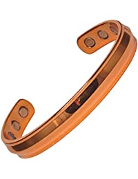 MPS® ACHILES Polished Pure Copper Magnetic Bracelet for men, Bangle Style with 6 Magnets, To fit a wrist of 19 to 23 cm