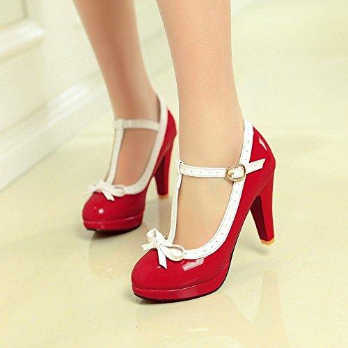 Mee Shoes Damen modern süß populär t-strap Schnalle mit Schleife runder toe Lackleder Plateau Pumps mit hohen Absätzen Rot