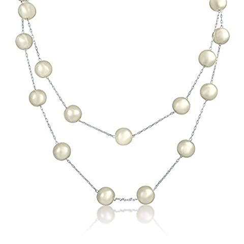 Bling Jewelry Simulated Pearl Bridal Station Necklace Rhodium Plated 10mm