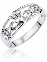 Kareco 9ct White Gold Diamond Set Celtic Claddagh Ring