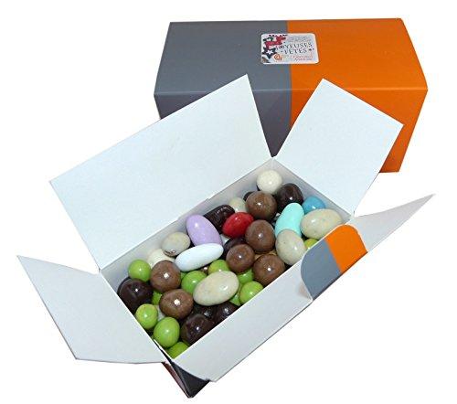 Ballotin de chocolat de Noel - Assortiment d'amandes noisettes et billes de céréales enrobées de chocolat - chocolat de fabrication artisanale - chocolat noel pas cher (Version 250g)