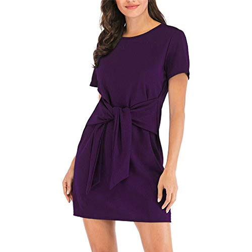 Damen Lang Chiffon Partykleid, LeeMon Womens Short Sleeve Solide Lässige Kleidung Rundhalsausschnitt Knot Front Pencil Kleid