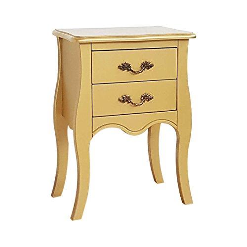 Mobilificio bisco athesis comodino sagomato-2 cassetti, legno, laccato oro, 44 x 32 x 63 cm