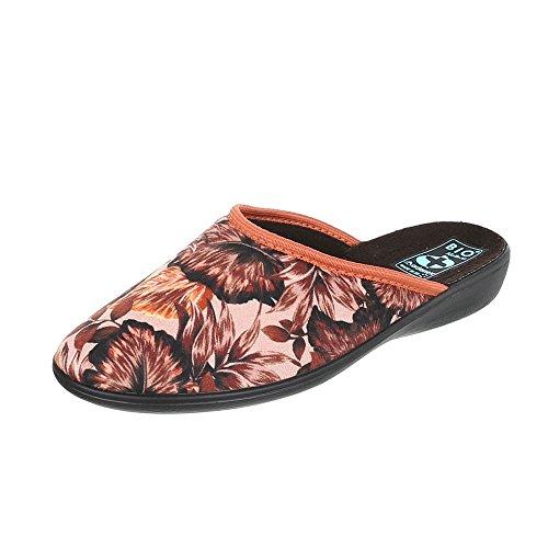 Chaussures femme Baskets mode Plat Chaussons Pantoufles Ital-Design marron Multi 22345