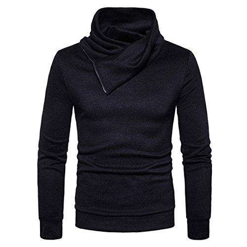 Longra Herren Rollkragenpullover Rollkragen-shirt mit Zipper Herren Rollkragen-Sweatshirt Strickpullover Männer Herbst Winter Langarm Ski/Sportrollkragenpullover (XL, Black) (3-tasten-sweatshirt Für Männer)