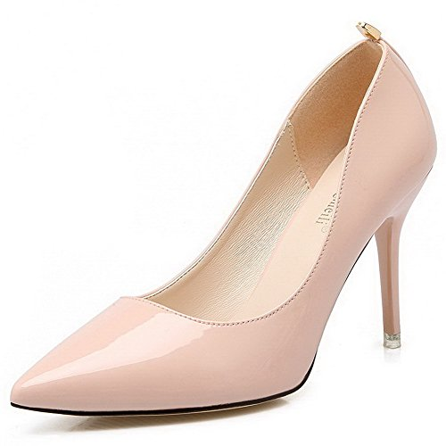AalarDom Damen Stiletto Spitz Zehe Ziehen Auf Weiches Material Pumps Schuhe Pink-Metallisch
