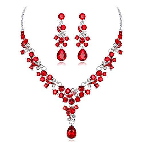 Scpink Womens Deals Halskette + Ohrringe Schmuck Kette Sets Hochzeitsgeschenk (Rot)
