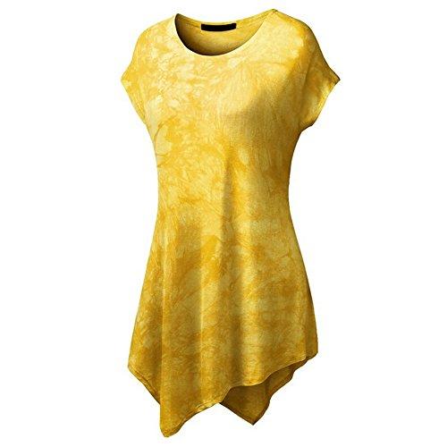 iBaste Damen Kurzarm Asymmetrisch Hem Tunika Tops T-Shirt Stretch Longshirt Tie-dye-Gelb