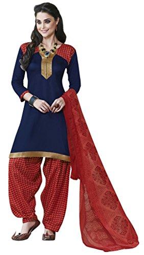 Khushali Presents Crepe Dress Material (Navy Blue,Red)