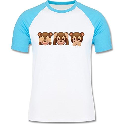 Shirtracer Comic Shirts - Äffchen Emoji - Herren Baseball Shirt Weiß/Türkis