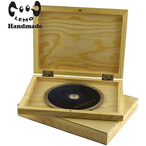 Lemo hechos a mano 1-12 PCS Rectangle caso de madera natural de CD, caja de recuerdos, recuerdo de la boda HD05 (3PCS)