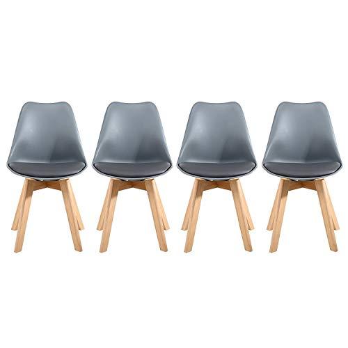 Lucky Factory Lot de 4 chaises de Salle à Manger scandinaves Chaises à Manger utilisé pour Cuisines,Salon,Chambre à Coucher (Gris)
