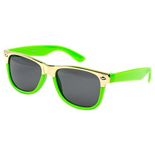 Ciffre Nerdbrille Sonnenbrille Stil Brille Pilotenbrille Vintage Look Neon grün Gold S12
