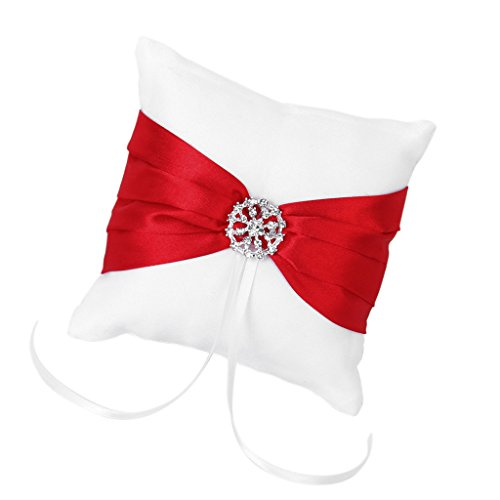 White Satin Red Bowknot Wedding Party Pocket Ring Pillow Cushion