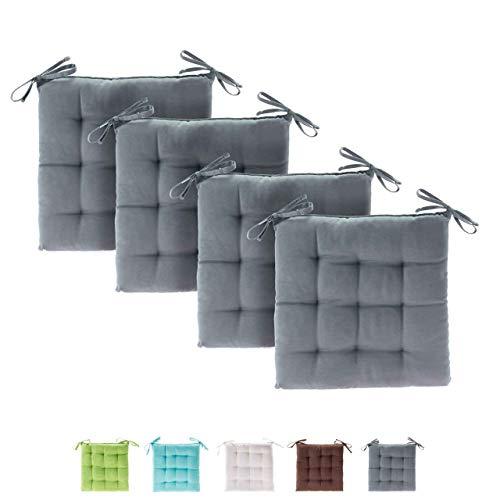 etérea Basic Sitzkissen für Innen- und Außenbereich 40x40 cm Grau 4er Set