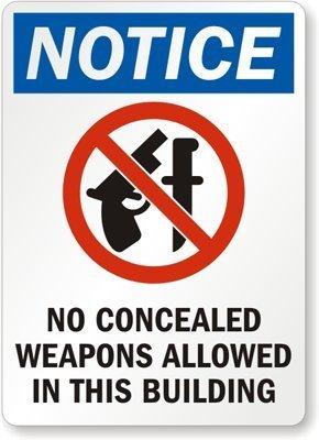 qidushop Metall Schild Sprüche Notice No Verdeckter Waffen Allowed Schwarz Blau Rot auf weiß Wandschild Poster gardern Schild 18x 25cm