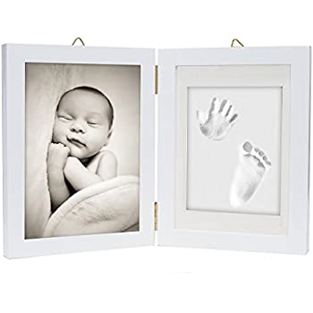 Baby Art My Baby Touch Photo Frame 2 Frames with Footprint Kit for Hand or Foot of the Newborn Scandinavian Wood