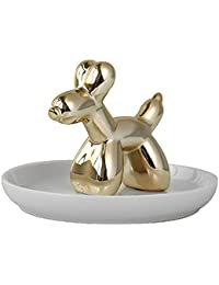 Wu You Ceramic Bandeja de Cerámica con Diseño de Perro Cachorro de Oro, Ideal para