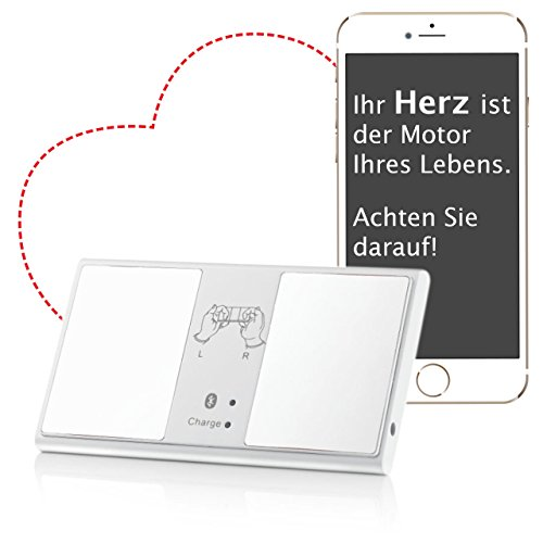 Mobiles EKG Gerät mit Bluetooth - ideal für unterwegs und zuhause. Tragbarer Ereignis-Rekorder mit einfacher Bedienung über Smartphone oder Tablet. Klein und handlich im Taschenformat - EKG Gerät mobil