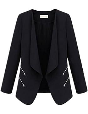 Tayaho Giacca Manica Lunga Donna Autunno Inverno Cappotto Breve Puro Colore Outwear Casual Ufficio Giacca Zip...