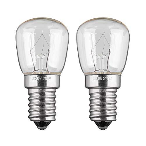 2x Kühlschranklampe   25W   E14   230V   2200 K   warm-weiß   Birne Lampe Glühbirne Glühlampe Leuchtmittel für Kühlschrank Kühlschrankglühbirne   warmweiß   2 Stück