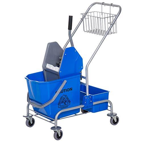 Homcom carrello delle pulizie professionale lavapavimento con secchio 25l ruote strizzatore 72 × 49.5 × 95cm